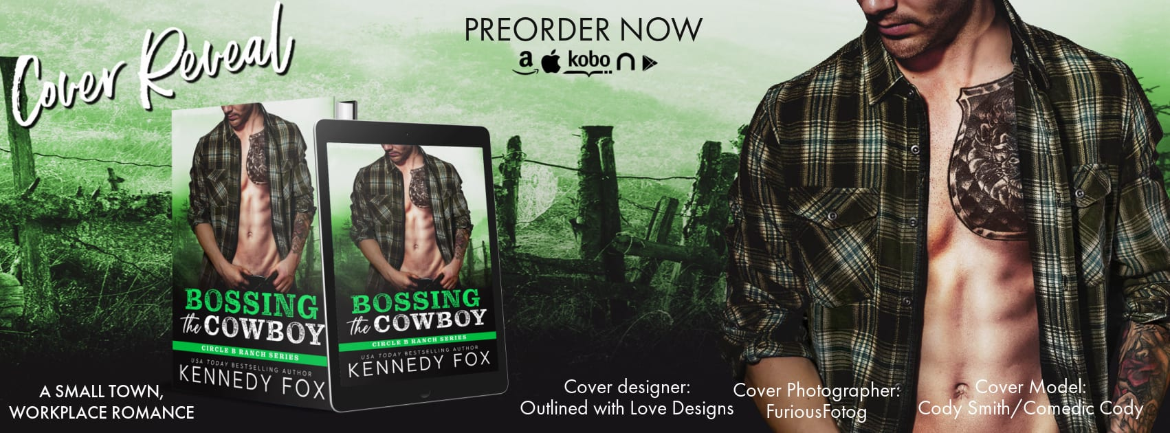 Cover Reveal:  Bossing the Cowboy (Circle B Ranch #4) by Kennedy Fox